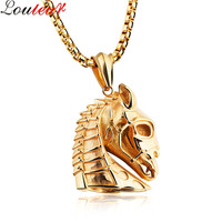 Louleur 2017 New Stainless Steel Animal Horse Necklace Pendant For Men Gold Black Plated Vintage Hip