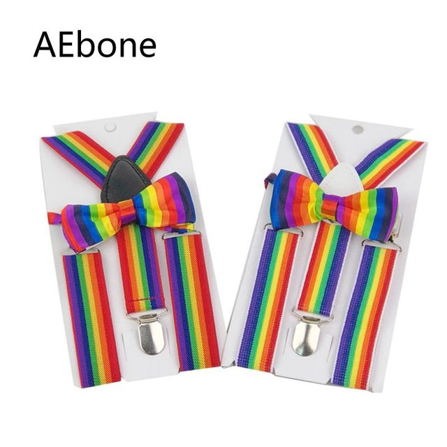 025dcacf1 AEbone Baby Boys Suspenders Bow Tie Set 3 Clip Elastic Strap Braces for  Children Rainbow Suspenders Wedding AE8303