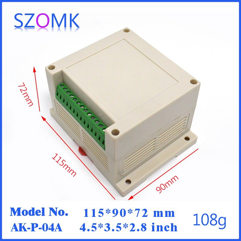 US $41 66 |10 pieces a lot abs din rail connector enclosure for pcb  115*90*72 mm 4 5*3 5*2 83 inch abs din rail enclosure for pcb-in Connectors  from