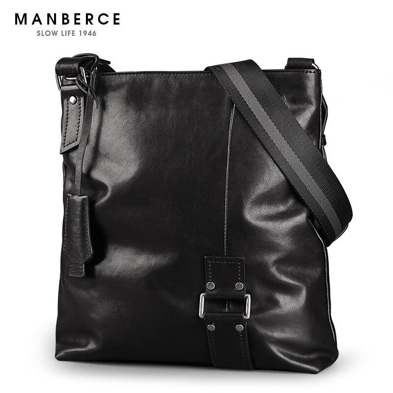 Hot Men's Messenger Bag MANBERCE Brand Handbag Men Shoulder Bag Cowhide Crossbody Bag Business Casual Briefcase Free Shipping