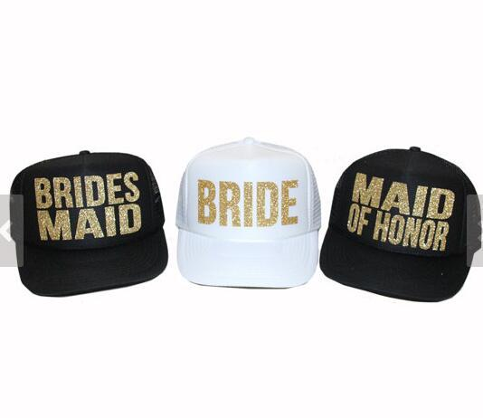 e2200cd44 US $44.98 10% OFF Bride Squad bridesmaid glitter trucker hats caps  Bachelorette wedding favor gifts bridal shower party decorations-in Cards &  ...