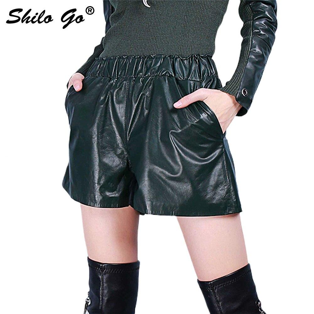 SHILO GO Leather Shorts Womens Spring Fashion Sheepskin Genuine Leather Shorts Stretch High Waist Casual Loose Dark Green Shorts
