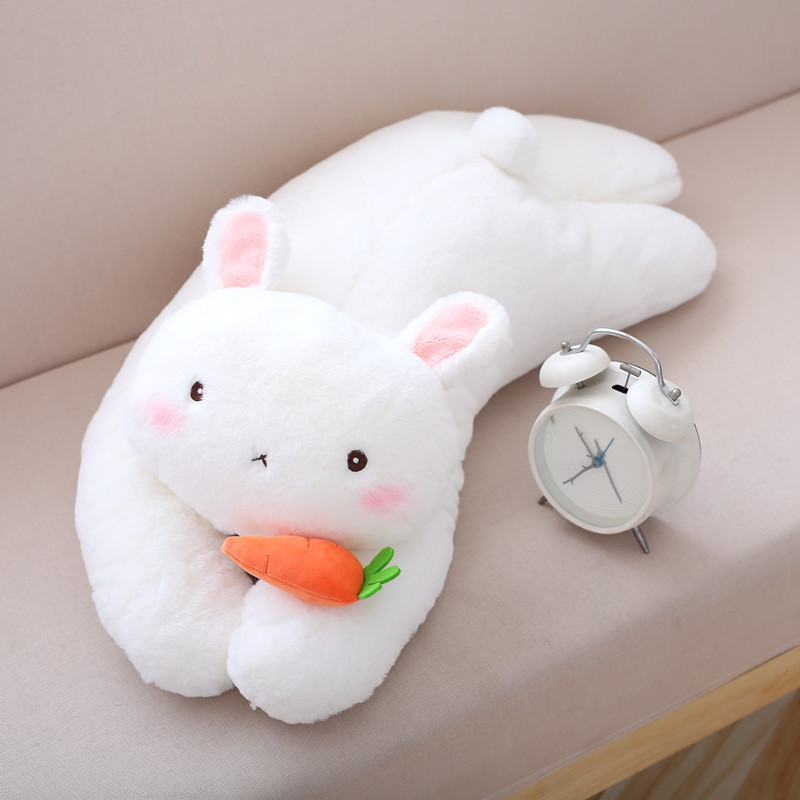 Cute Bunny Children Cushion New Born Baby Toy Pillow Rabbit With Carrot Doll Kids Gift Soft Sleeping Toy 70cm hot cute rabbit backpack kids soft plush animal lolita doll toy bag lady kawaii long ears bunny rucksack for girls gift