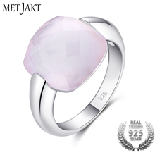 MetJakt подлинный природный эффект красоты квадратный розовый кварц камень 925 пробы серебряные кольца для вечерние ювелирные изделия