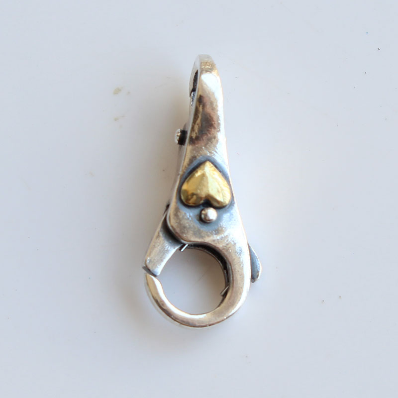 Fermoirs en argent Sterling 925 avec serrure coeur en or pour Bracelet en perles breloques à assembler soi-même - 5