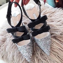 2018 Summer Spring Sexy Woman Sandals Bow Sequins Pointed Roman high heel sandals