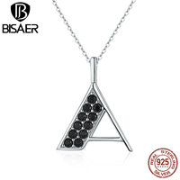 BISAER Exclusive 925 Sterling Silver Necklace Alphabet Letter A Black Clearly CZ Pendants Necklaces For Women