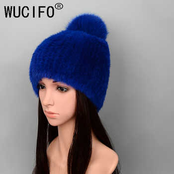 WUCIFO Hot Sale Real Mink Fur Hat Women Winter Knitted Mink Fur Beanies Cap With Fox Fur Pom Poms Handmade New Thick Female Cap - DISCOUNT ITEM  38% OFF All Category