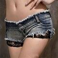 New 2017  shorts feminino Sexy hipster lace shorts women crochet openwork stitching cotton denim shorts SY031