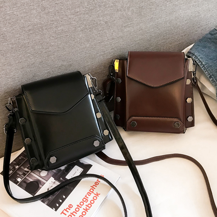 Vintage Rivets Women Shoulder Messenger Bag Black Cover Girls Handbag Square PU Leather Madam Ladies Crossbody Bags Design INS Сумка
