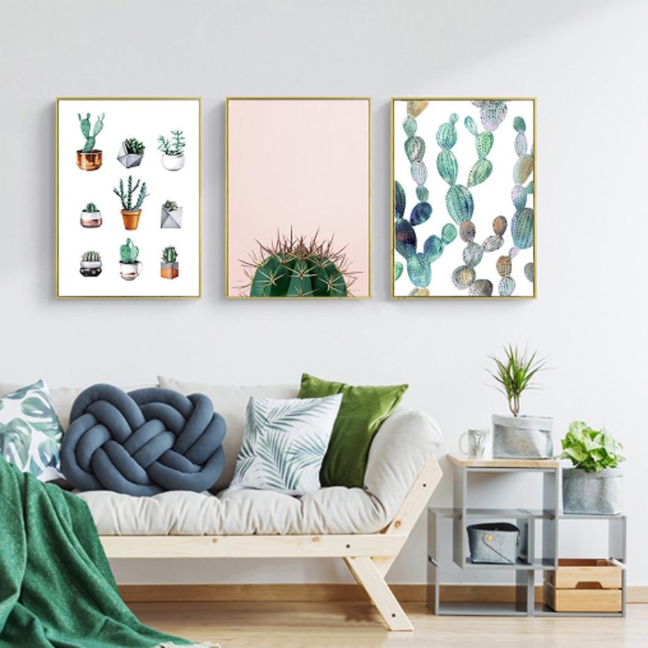 Gemälde Wohnzimmer, moderne abstrakte kakteen leaf leinwand gemälde nordic poster und, Design ideen