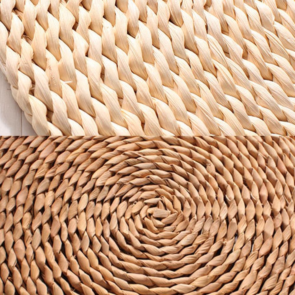HTB1Xbc2B3KTBuNkSne1q6yJoXXap Tatami Futon Meditation Cushion Thickening Yoga Circle Corn Husk Straw Braid Mat Japanese Style Cushion with Silk Wadding