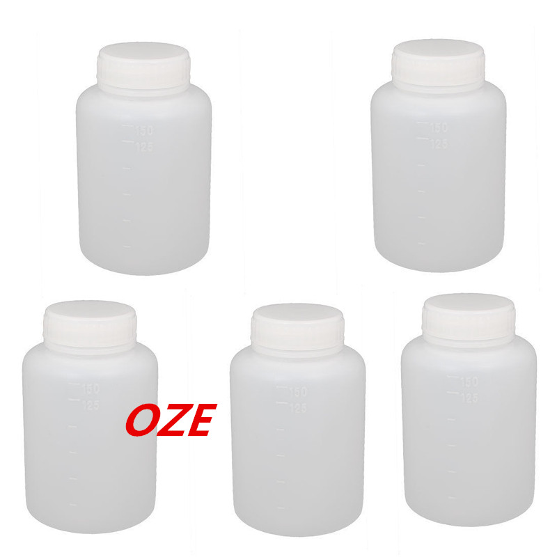 5pcs 100ml Plastic Wide Mouth Laboratory Reagent Bottle Sealling Bottle White 400ml portable bpa free wide mouth cool water bottle