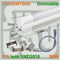 20pcs/lot free shipping Dimmable LED integrated T5 tube 4ft 1200mm 20W surface mounted with accessory lamp to lamp connecti