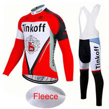 Red 2017 Saxo Bank Tinkoff Winter Thermal Fleece Cycling Jersey/Pro Bicycle Cycle Clothes/Gel Pad Long Sleeve MTB Bike Clothing одежда для велоспорта team edition 2015 tink off saxo bank