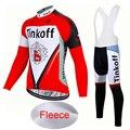 Rot 2018 Team Tinkoff Winter Thermische Fleece Radfahren Jersey/Pro Fahrrad Zyklus Kleidung/Gel Pad Langarm MTB fahrrad Kleidung