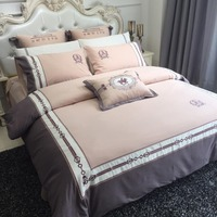 Flower series Luxury Bedding Set egyptian cotton Bed Set purple Bed Sheet embroidery Duvet Cover Set Queen King Size Bed Linen