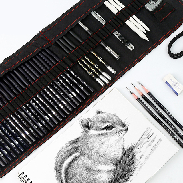 17 карандаш Карандаш для эскизов набор покраска углеродная Ручка инструмент пенал художественные принадлежности полный набор студенческих...