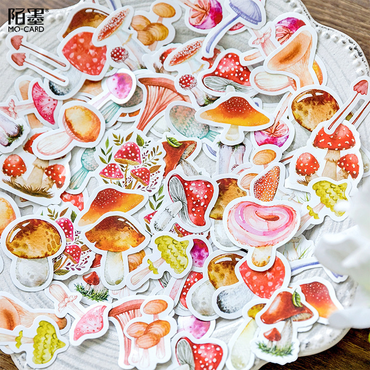 46pcs/box Cute Japanese Paper Diary Calendar Mushroom Stickers Scrapbooking Stationery Korean School Supplies