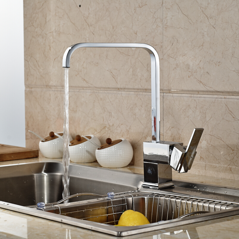 Good Quality Brass Kitchen Faucet Swivel Spout Vessel Sink Mixer Tap Chrome Finish