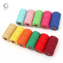 1 Roll 100 Yards 2mm Colorful Twisted Cotton Rope 2 Colors strand Twisted DIY Macrame Cotton Cords