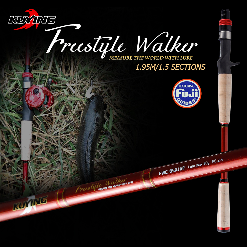 KUYING Freestyle Walker 1.95m Superhard XH Carbon Casting Fishing Lure Rod Cane Pole Stick 1.5 Sections For Big fish Fast Action ayman nazzal translation as a hyponym of an intercultural communication encounter