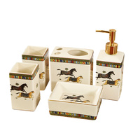 Китай пять комплект из керамики мыла/Зубная щётка/стакан/мыльница Аксессуары для ванной комнаты Комплект Ванная комната продукты
