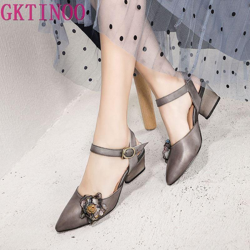 GKTINOO Original Spring Summer 2019 New Pointed Toe Genuine Leather Women Sandals Thick Heels Handmade Buckle