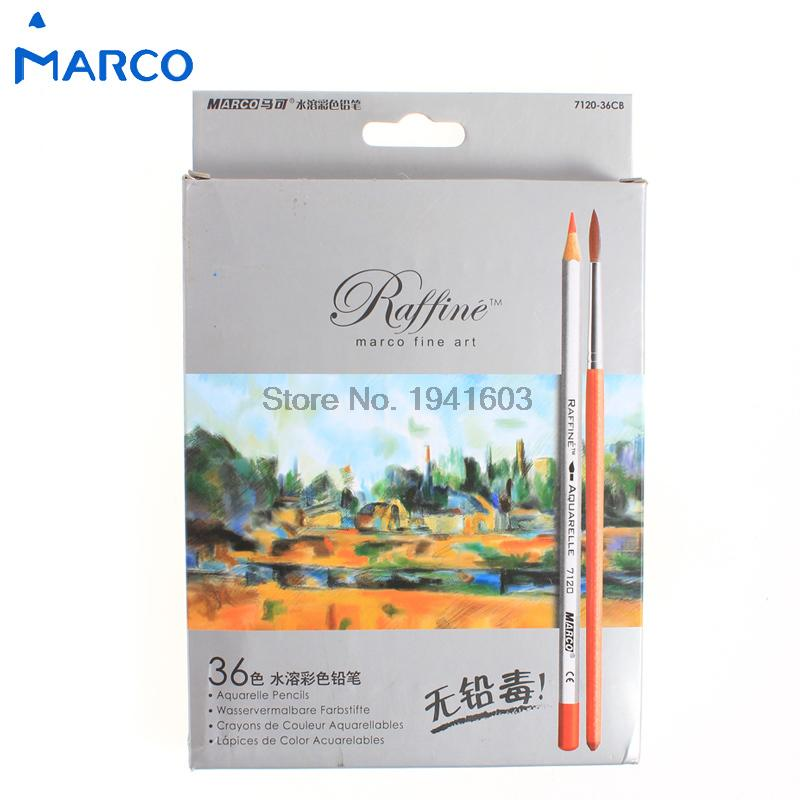 One Set (24/36 Colors) Marco Fine Art High Quality 24/36 Colors Drawing Water Colored Pencil For Artist Sketch Free Shipping