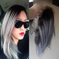 2016 raíces oscuras gris ombre peluca de cabello humano 100 Peruana virginal del pelo recto del frente del cordón pelucas corto bob peluca llena del cordón dos tonos pelucas grises