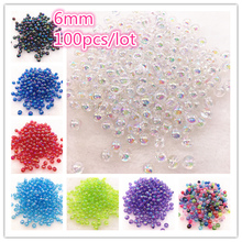 NEW 100pcs 6mm AB Color Round Acrylic Bead Loose Spacer Beads For Jewelry Making DIY Bracelet