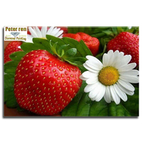 Peter Ren Diy Diamond Embroidery Strawberry Daisy Full Diamond Painting Flowers For The Bedroom 3d Square