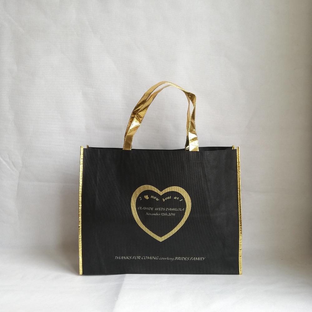 1000pcs lot Black Reusable Non woven Shopping Tote Bag with Shiny Gold Laser Fabric Handle and