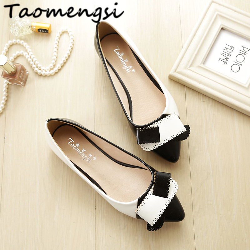 Taomengsi Women's flats leather Ladies casual shoes Fashion pointed Toe bowknot spell color Comfortable Woman shoes High quality new listing pointed toe women flats high quality soft leather ladies fashion fashionable comfortable bowknot flat shoes woman