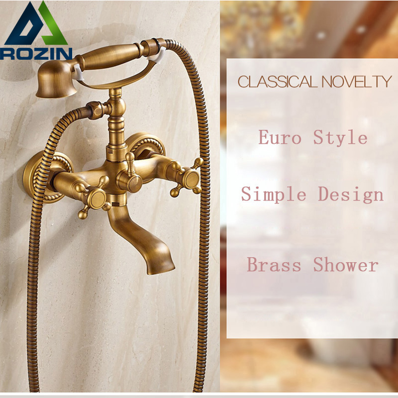 Telephone Style Antique Wall Mount Bathtub Faucet Bathroom Tub Sink Mixers with Handheld Shower Dual Handles wall mounted bright chrome bathtub sink faucet two cross handles bathroom handheld shower mixers swivel tub spout