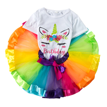 2Pcs/Sets Baby Girls White Unicorn Shirt Rainbow Tutu Skirt Summer Cotton Top and Skirts Suit Kids Birthday Party Outfits 2016 new princess baby girls clothing sets summer sleeveless tops and tutu seqiun lace mini skirt 2pcs party girls outfits 2 7y