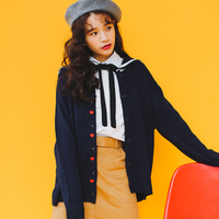 Real Shot 2017 Spring Girls Korean Version Of The Tide Was Thin Love Embroidery Navy Collar