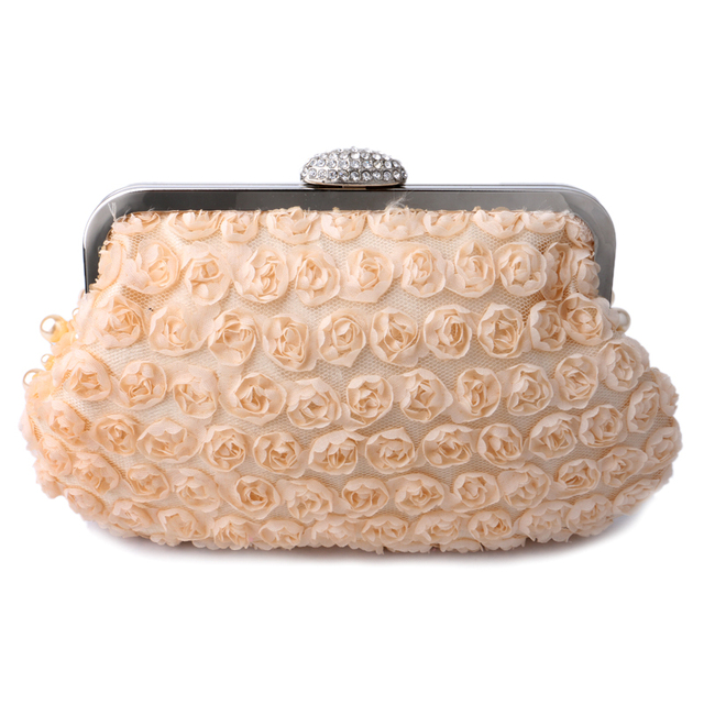 YINGMI Beaded Rose Women Evening Bag with Shoulder Chain Small Messenger Bag Crystal Soft Mini Women Evening Bag