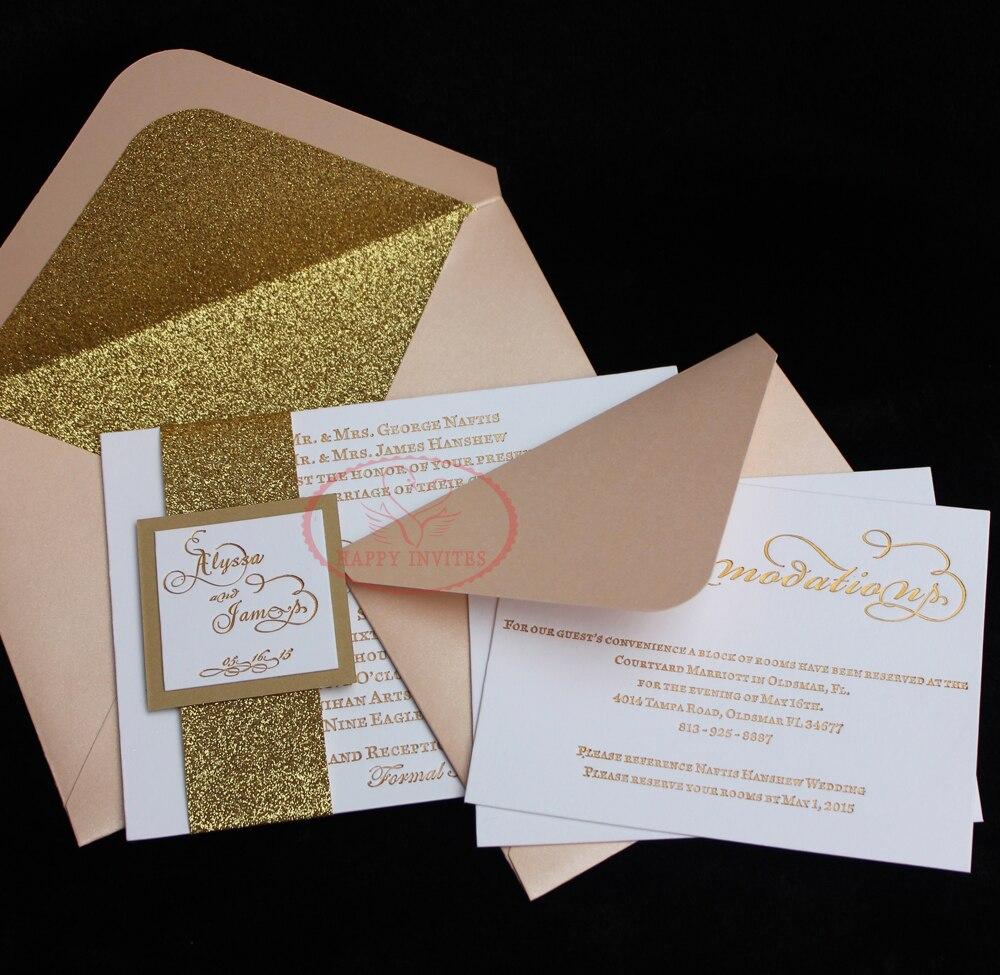Ongebruikt HI1122 Glitter Uitnodiging Blush Bruiloft Uitnodiging Kaart Met EY-69