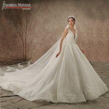 אמנדה Novias מותג למעלה איכות סדר מותאם אישית חתונת שמלת העבודה האמיתית תמונה 2020