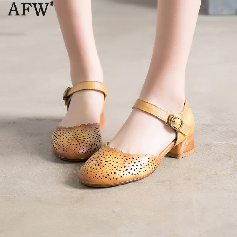AFW Women Sandals Soft Leather Summer Shoes Genuine Leather 3 CM Low Heels Sandals Women Hollow Out Shoes Ankle Strap Handmade women sandals fashion low heels sandals for summer shoes woman ankle strap flats sandals shoes soft bottom casual shoes 35 44