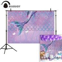 Allenjoy 사진 배경 바다 배경 아래 보라색 인어 꼬리 규모 생일 장식 photocall 사진 촬영 소품