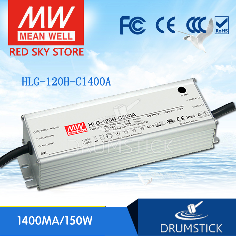 Hot sale MEAN WELL HLG-120H-C1400A 54V ~ 108V 1400mA meanwell HLG-120H-C 151.2W LED Driver Power Supply A Type [nc b] mean well original hlg 120h 54a 54v 2 3a meanwell hlg 120h 54v 124 2w single output led driver power supply a type