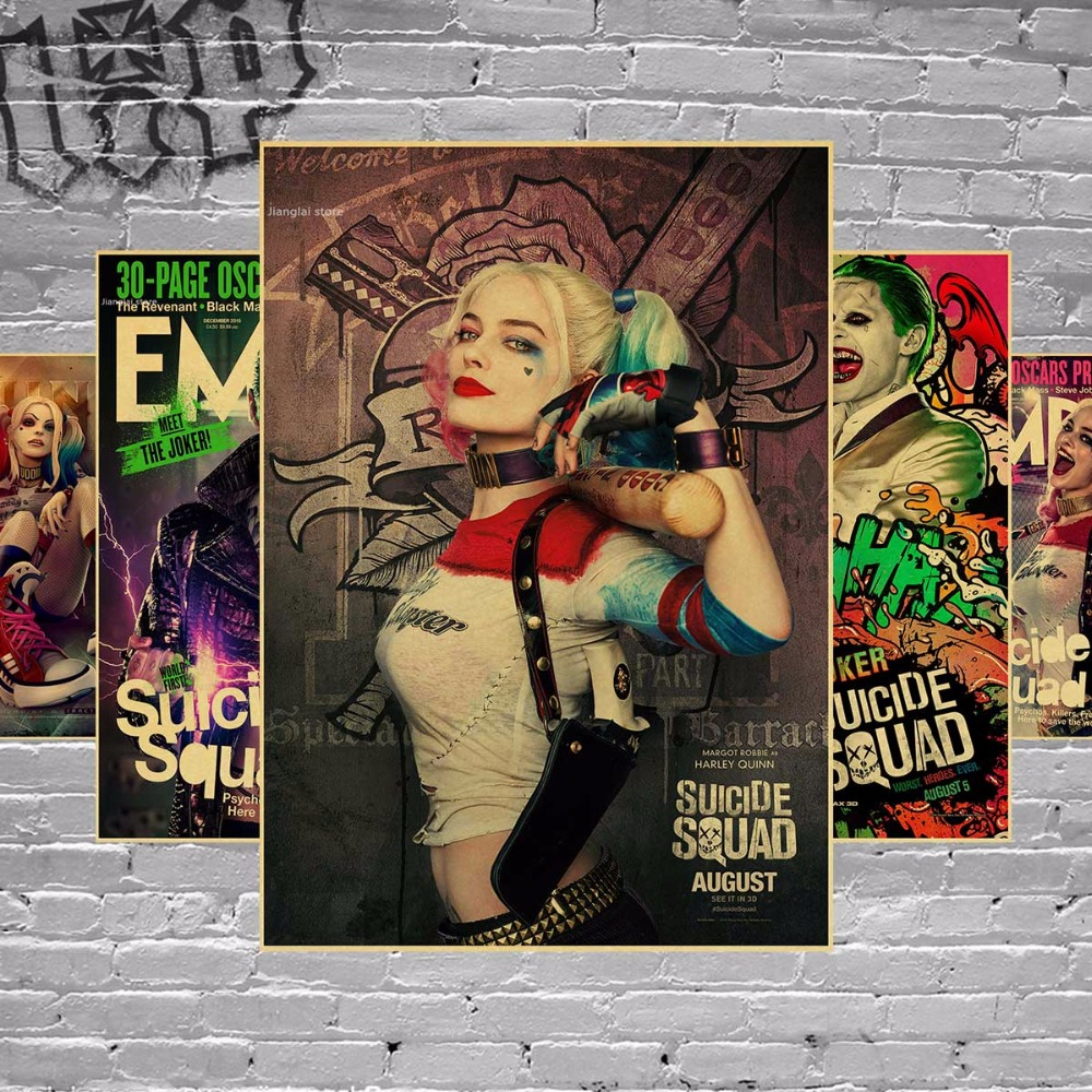 Vintage Batman Harley Quinn Suicide Squad Movie Poster Retro Kraft Paper Bar Home Decor Painting Wall Sticker Wallpaper