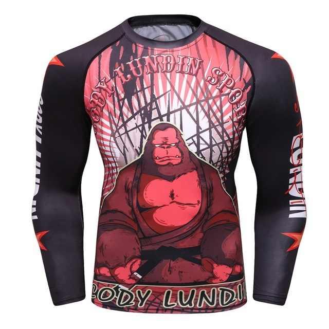 قميص ضغط الرجال طبقة قاعدة الصيف طويلة الأكمام ثلاثية الأبعاد طباعة الحرارية تحت MMA Rashguard الجوارب الجلد رجل تي شيرت كودي LUNDIN