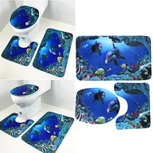 3 PCS Blue Ocean Bathroom Set (Rug + Lid Toilet Cover + Bath Mat)