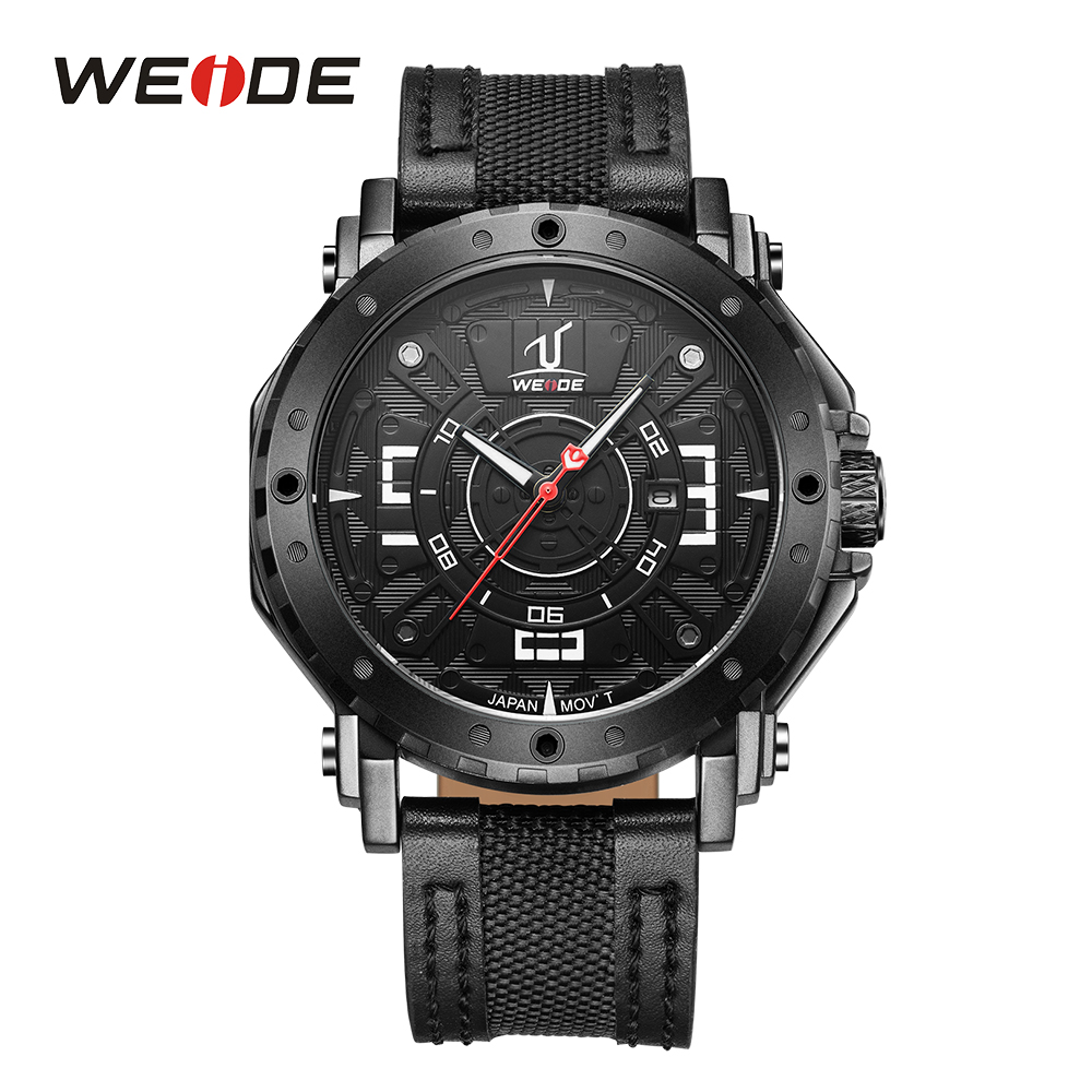 WEIDE Men Sport Watch Analog Black Leather Strap Band Japan Quartz Movement Date Calendar Display Hardlex Waterproof Wristwatch goblin shark sport watch 3d logo dual movement waterproof full black analog silicone strap fashion men casual wristwatch sh165