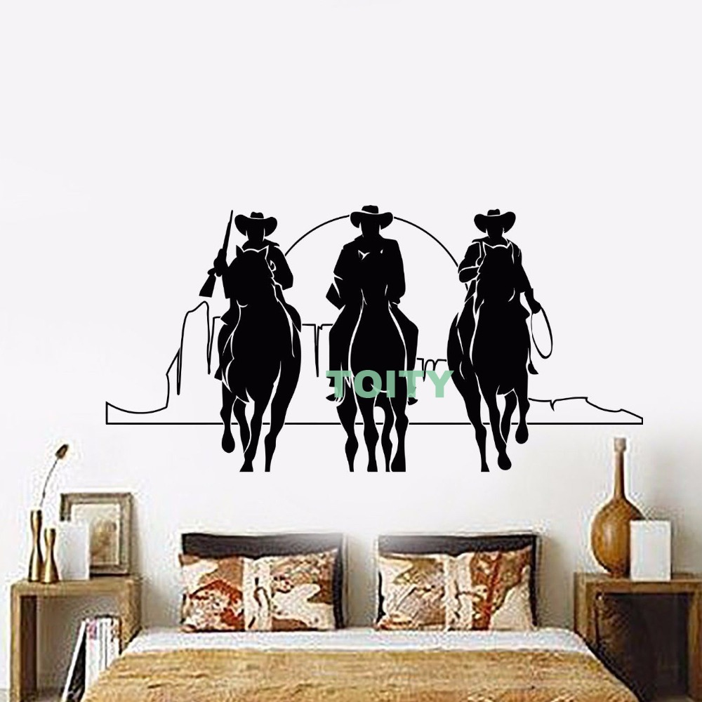 Vinyl Wall Decal Western Cowboys Horses Sunset Movie Cinema Sticker Interior Housewares Bedroom Home Window Decor H57cm x W114cm