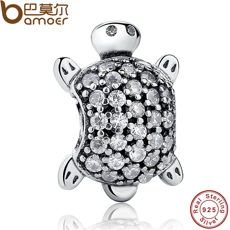 925 Sterling Silver Sea Turtle Charm Beads Fit Bracelets Original Animal Turtle Clear CZ Bead DIY Jewelry PAS147 925 sterling silver sea turtle charm beads fit bracelets original animal turtle clear cz bead diy jewelry pas147