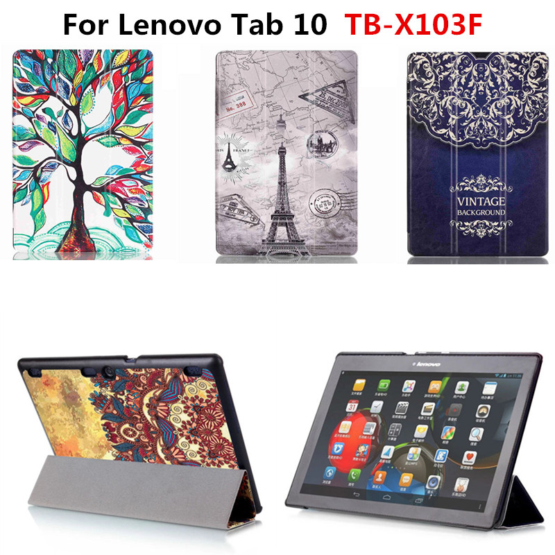 For Lenovo Tab 10 TB-X103F X103F 10.1'' Tablet Colorful Print PU Leather Case Cover With Magnet folio Stand Cute Tower Flower classic lichee folio book pu leather case with magnetic folio stand cover for lenovo tab 10 tb x103f x103f 10 1 tablet pc